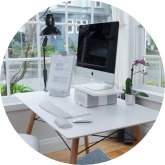 Home office with WellView monitor stand