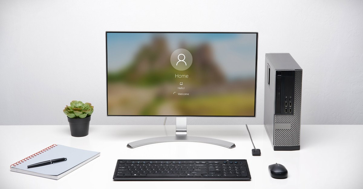 Desk showing Windows Hello and Kensington VeriMark Desktop