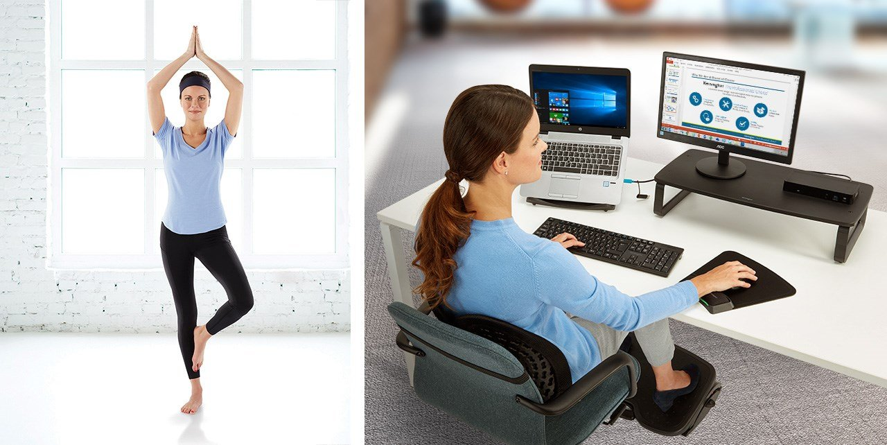 Woman doing yoga and working at computer